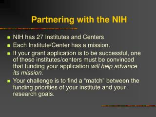 Partnering with the NIH