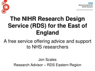 The NIHR Research Design Service (RDS) for the East of England