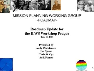 MISSION PLANNING WORKING GROUP -ROADMAP- Roadmap Update for the ILWS Workshop Prague June 11, 2008