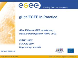 gLite/EGEE in Practice