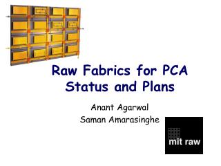 Raw Fabrics for PCA Status and Plans