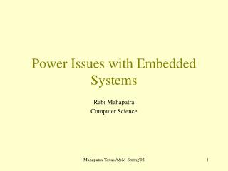 Power Issues with Embedded Systems