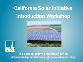 California Solar Initiative Introduction Workshop