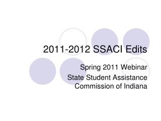2011-2012 SSACI Edits