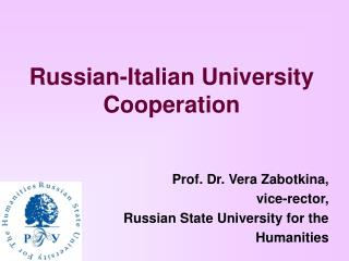 Russian-Italian University Cooperation