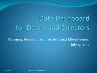 Data Dashboard for Deans and Directors