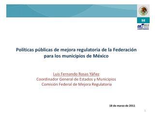 Políticas públicas de mejora regulatoria de la Federación para los municipios de México
