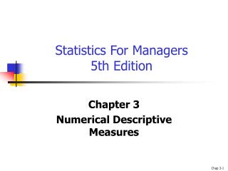 Statistics For Managers 5th Edition