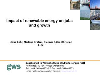 Impact of renewable energy on jobs and growth