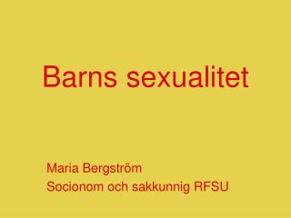 Barns sexualitet