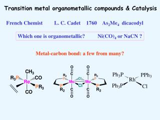 Transition metal organometallic compounds & Catalysis