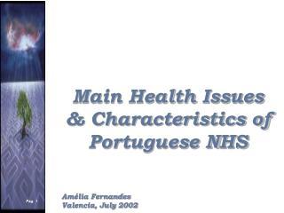Main Health Issues & Characteristics of Portuguese NHS Amélia Fernandes Valencia, July 2002