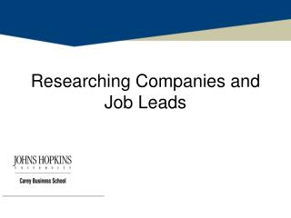 Researching Companies and Job Leads