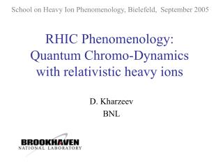 RHIC Phenomenology: Quantum Chromo-Dynamics with relativistic heavy ions
