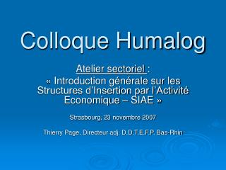Colloque Humalog