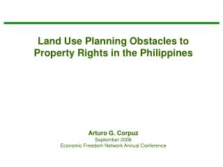 Land Use Planning Obstacles to Property Rights in the Philippines
