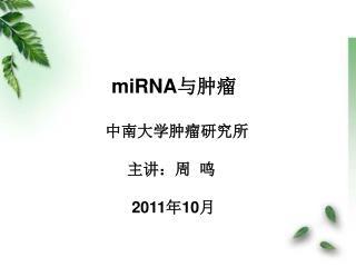 miRNA 与肿瘤