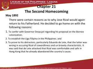 Chapter 21 The Second Homecoming