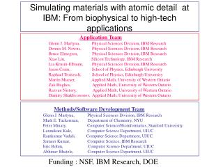 Simulating materials with atomic detail  at IBM: From biophysical to high-tech applications