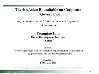 The 6th Asian Roundtable on Corporate Governance