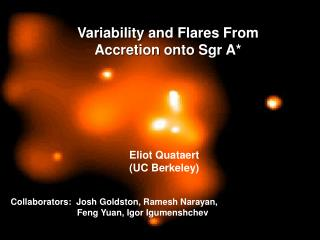 Variability and Flares From  Accretion onto Sgr A*