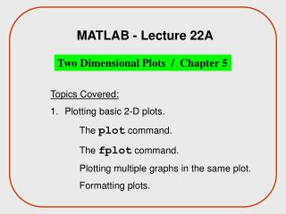 MATLAB - Lecture 22A