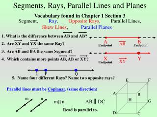 Segments, Rays, Parallel Lines and Planes