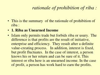 rationale of prohibition of riba :