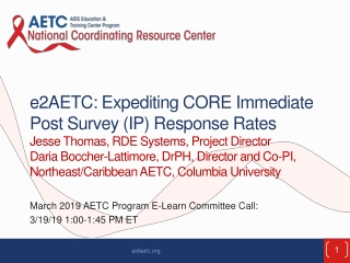 March 2019 AETC Program E-Learn Committee Call: 3/19/19 1:00-1:45 PM ET