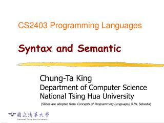 CS2403 Programming Languages Syntax and Semantic