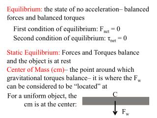 Equilibrium: the state of no acceleration  balanced forces and balanced torques