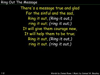 Ring Out The Message