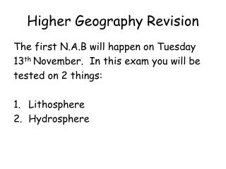 Higher Geography Revision