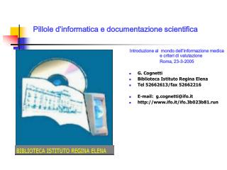 Pillole d'informatica e documentazione scientifica