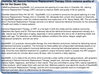 Charlotte, NC Natural Hormone Replacement Therapy Clinic res