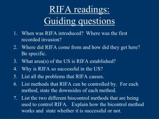 RIFA readings:  Guiding questions