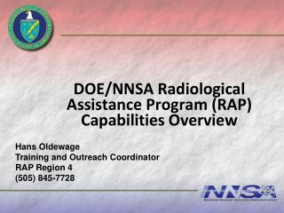 DOE/NNSA Radiological Assistance Program (RAP) Capabilities Overview