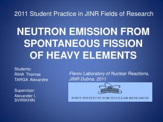 NEUTRON EMISSION FROM SPONTANEOUS FISSION OF HEAVY ELEMENTS