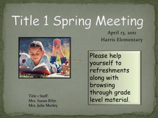 Title 1 Spring Meeting