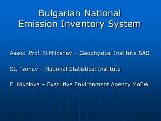 Bulgarian National Emission Inventory System