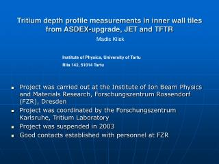 Tritium depth profile measurements in inner wall tiles from ASDEX-upgrade, JET and TFTR