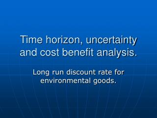 Time horizon, uncertainty and cost benefit analysis.