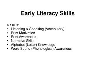 Early Literacy Skills