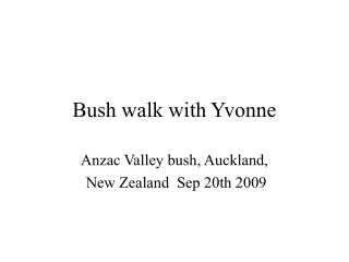 Bush walk with Yvonne