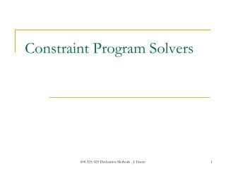 Constraint Program Solvers