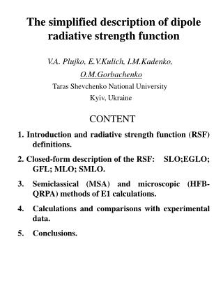 The simplified description of dipole radiative strength function