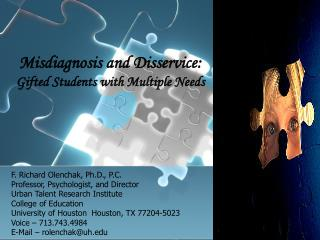 Misdiagnosis and Disservice: Gifted Students with Multiple Needs