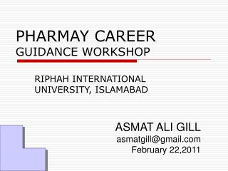 PHARMAY CAREER GUIDANCE WORKSHOP
