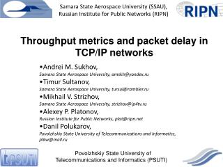 Throughput metrics and packet delay in TCP/IP networks