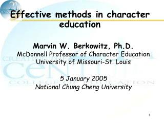Effective methods in character education